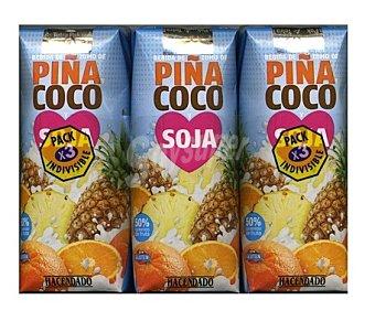 Hacendado Nectar + soja piña coco 3 x 330 cc