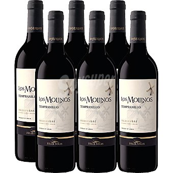 Los Molinos Vino tinto tempranillo D.O. Valdepeñas caja 6 botellas 75 cl