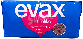 Evax Compresa absorcion normal plegada con alas Paquete 28 u