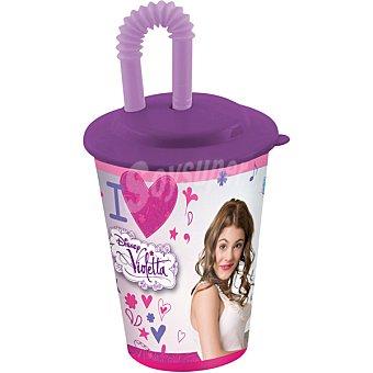 Disney Vaso caña con diseño Violetta en color rosa