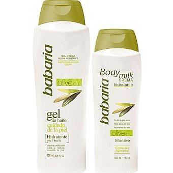 Babaria Crema corporal hidratante Olive Oil intensiva + gel crema de ducha hidratante Olive Oil para piel seca bote 750 ml Frasco 500 ml