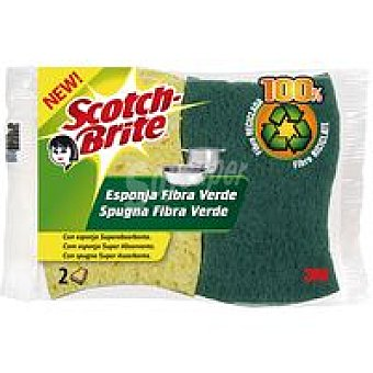 Scotch Brite Estropajo con esponja de fibra verde Pack 2 unid