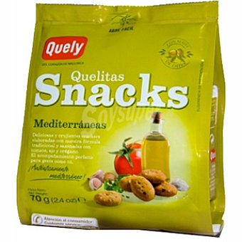 QUELY QUELITAS Snacks Mediterráneas crackers con ingredientes mediterráneos Bolsa 70 g