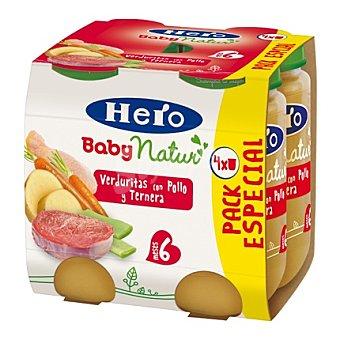 Hero Baby Tarrito de verduritas con pollo y ternera Natur desde 6 meses  Pack 4x235 g