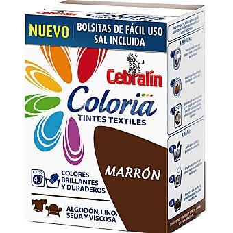 CEBRALIN Coloria Tinte para ropa color marrón contiene 2 bolsitas tinte + sal caja 300 g Caja 300 g