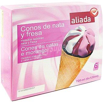 Aliada Cono con helado de nata y fresa 6 unidades estuche 720 ml 6 unidades