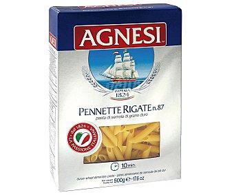 Agnesi Pennettes Rigates Nº 87, pasta de sémola de trigo duro de calidad superior 500 Gramos