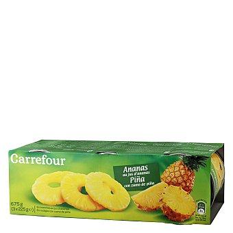 En rodajas Piña con zumo de piña Carrefour Pack de 3 unidades de 139 g