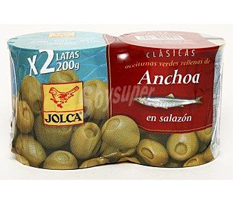 La Española Aceitunas rellenas de anchoa Clásicas  Pack 2x85 g neto escurrido