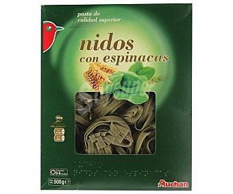 Auchan Nidos, pasta de sémola de trigo duro de calidad superior a las espinacas Paquete de 500 gramos