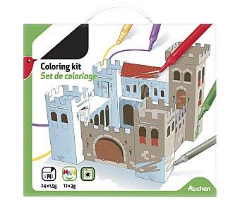 Auchan Set de colorear mediano con 24 marcadores de 1,5g