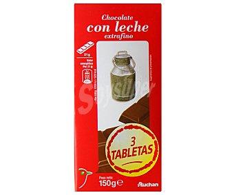 Auchan Chocolate con leche extrafino 3 unidades de 150 gramos