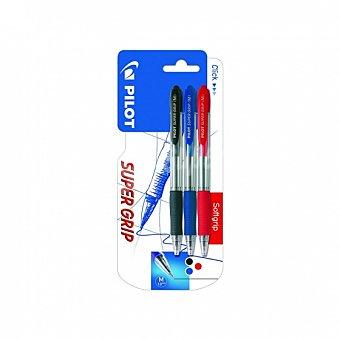Bolígrafos Super Grip negro/azul/rojo Pack 3