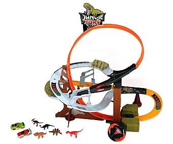 Dickie toys Garaje Dino Tower con sonidos, incluye 2 coches y 5 dinosurios 1 unidad