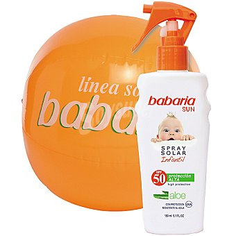 BABARIA Sun Spray solar infantil aloe FP-50 resistente al agua spray 150 ml + balón playa Spray 150 ml