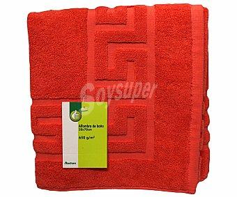 Productos Económicos Alcampo Alfombra de rizo para baño 100% algodón color coral, 50x70 centímetros 1 Unidad