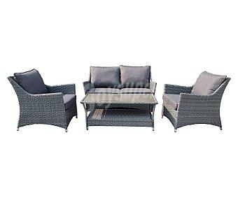 Garden Star Conjunto para jardín o terraza que incluye sofá de aluminio y ratán, 2 sillones y mesa baja con cristal de color gris star California