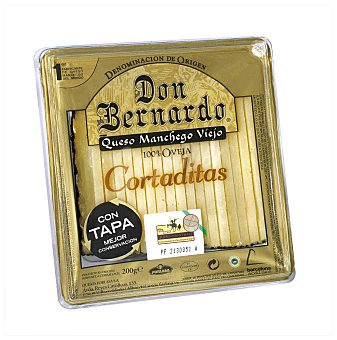 Don Bernardo Queso manchego viejo 100% oveja cortaditas D.O. cuña 200 g