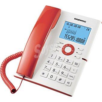 Daewoo Teléfono de sobremesa con gran pantalla retroiluminada en color blanco y rojo