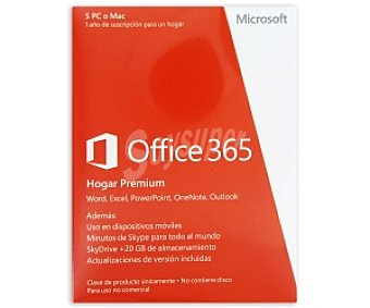 MICROSOFT Mi Office 365 Hogar PC Para 5 Pc o Mac
