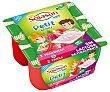 Especialidad de soja fermentada, rica en calcio y vitamina D, con sabor a fresa Kids 4 x 90 g Sojasun