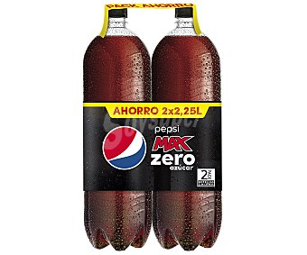 Pepsi Refresco de cola zero Pack de 2 botellas de 2 litros