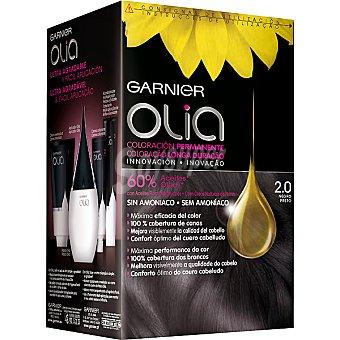 Olia Garnier tinte Negro nº 2.0 coloración permanente con aceites florales naturales sin amoniaco caja 1 unidad