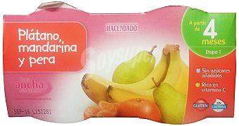 Hacendado Tarrito platano mandarina pera  a partir 4 meses Pack 4 x 130 g - 520 g