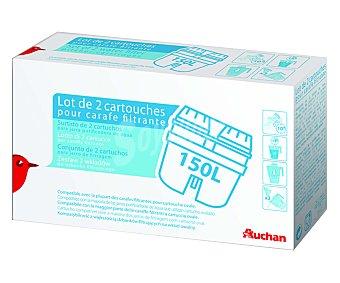 AUCHAN Filtro para jarras filtrantes o purificantes, duración: 200 Litros (6-9 semanas) 2 Unidades.