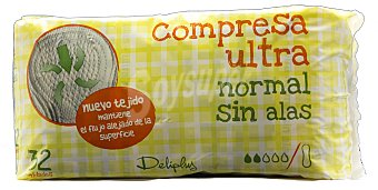 Deliplus Compresa absorcion normal ultra plegada Paquete 32 u
