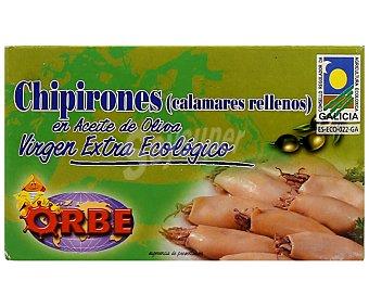 Orbe Chipirones rellenos en aceite oliva virgen extra, bajo sal, Ecológico 75 Gramos