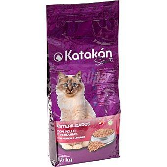 Katakán Alimento Select para gatos esterilizados con pollo y verduras  Bolsa 1,5 kg