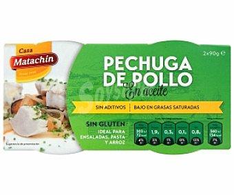 Matachín Pechuga de pollo en aceite, ideal para ensaladas, pasta y arroz, Sin Gluten 2x90 Gramos