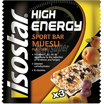 ISOSTAR High Energy barritas con muesli energéticas envase 125 g pack 3x40g