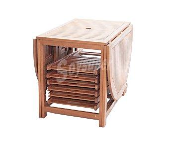 PLOOS Conjunto de mesa plegable de 100x74 a 180X60 y 6 sillas plegables de 44.5x54x80 modelo Kreta, de madera de Acacia 100% FSC 1 unidad