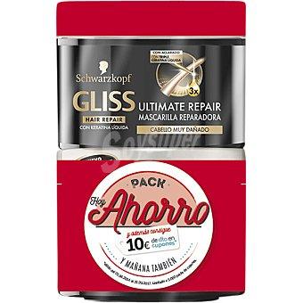 Gliss Schwarzkopf Mascarilla reparadora Ultimate Repair para cabello muy seco pack ahorro Pack 2 tarro 200 ml