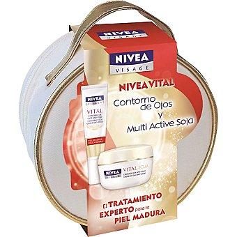 Nivea Crema cuidado de día anti-edad tarro 50 ml + contorno de ojos anti-edad tubo 15 ml + neceser Visage Vital Soja Tarro 50 ml