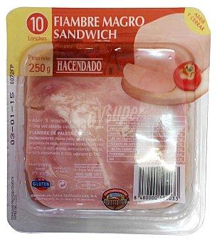 Hacendado Fiambre magro lonchas sandwich Paquete 250 g