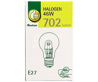 Productos Económicos Alcampo Bombilla ecohalógena esférica 46W, casquillo E27(grueso), luz cálida Alcampo.
