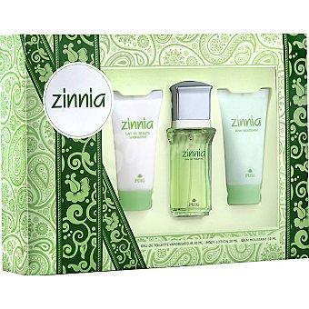 Zinnia eau de toilette femenina + loción corporal hidratante tubo 100 ml + gel de baño Spray 50 ml
