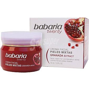 Babaria Twenty Crema facial hidratante 24h con extracto de Granada para pieles mixtas Tarro 50 ml