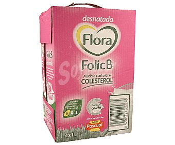 Flora Preparado lácteo Folic B desnatado con ácido fólico y vitaminas B6, B12 + vitaminas A, D, E Pack 4 unidades de 1 litro