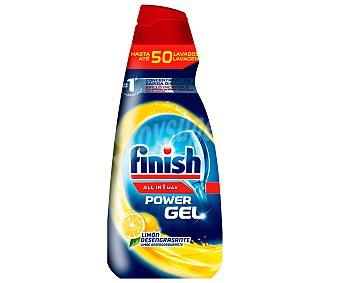Finish Detergente lavavajillas todo en 1 Plus en gel concentrado limón brillo y protección del cristal Botella 50 dosis