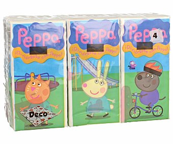PEPPA PIG Pañuelos tissue desechables de celulosa con 4 capas 6 paquetes