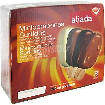 Aliada Minibombón helado con cobertura de chocolate surtido estuche 400 ml 8 unidades