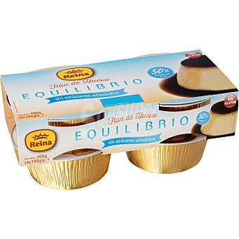 REINA EQUILIBRIO Flan de huevo sin azucar añadido pack 4 100 g Pack 4 100 g