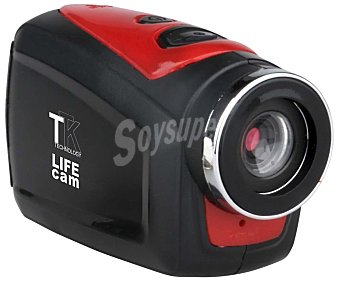 TTK SPORT Videocámara deportiva de alta definición HD 720p, batería de litio, ranura de tarjeta de memoria microsd hasta 32GB, incluye accesorio para manillar, casco y carcasa impermeable