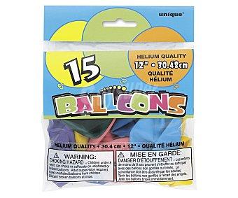 UNIQUE Globos de colores surtidos, 12 pulgadas, 30 centímetros 15 unidades