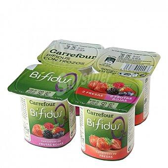 Carrefour Yogur bífidus desnatado con trozos de fresa y frutos rojos Pack de 4 unidades de 125 g