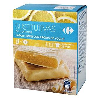 Carrefour Barrita sustitutiva de comida rellena de yogur limón Pack 6x32gr